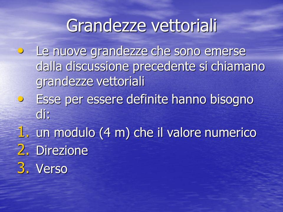 Grandezze vettoriali Le nuove grandezze che sono emerse dalla discussione precedente si chiamano grandezze vettoriali Le nuove grandezze che sono emer