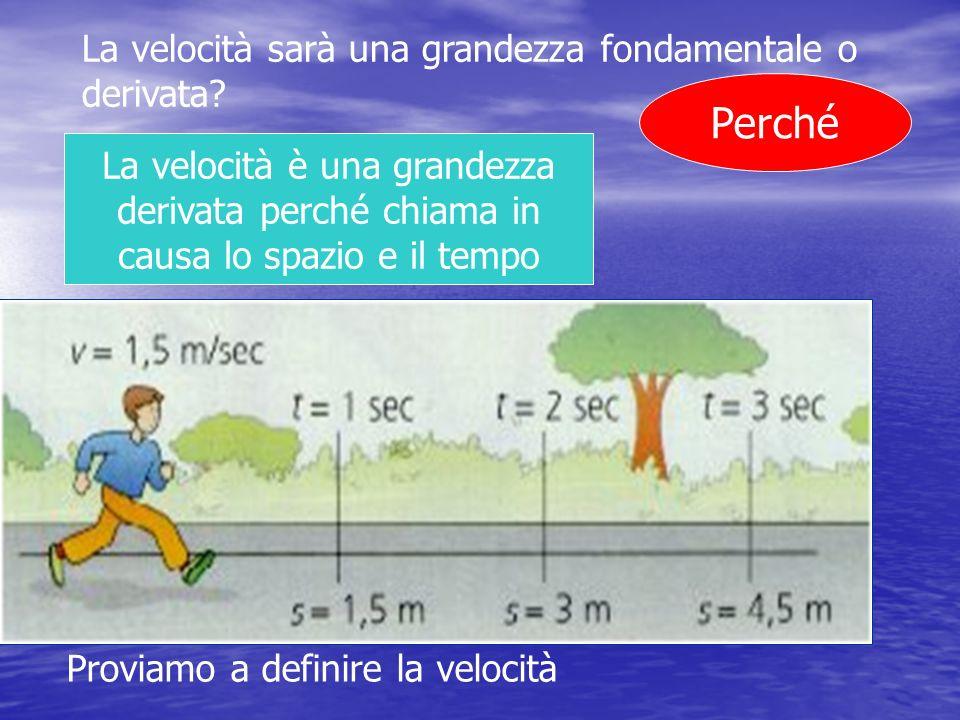 La velocità sarà una grandezza fondamentale o derivata? Perché La velocità è una grandezza derivata perché chiama in causa lo spazio e il tempo Provia