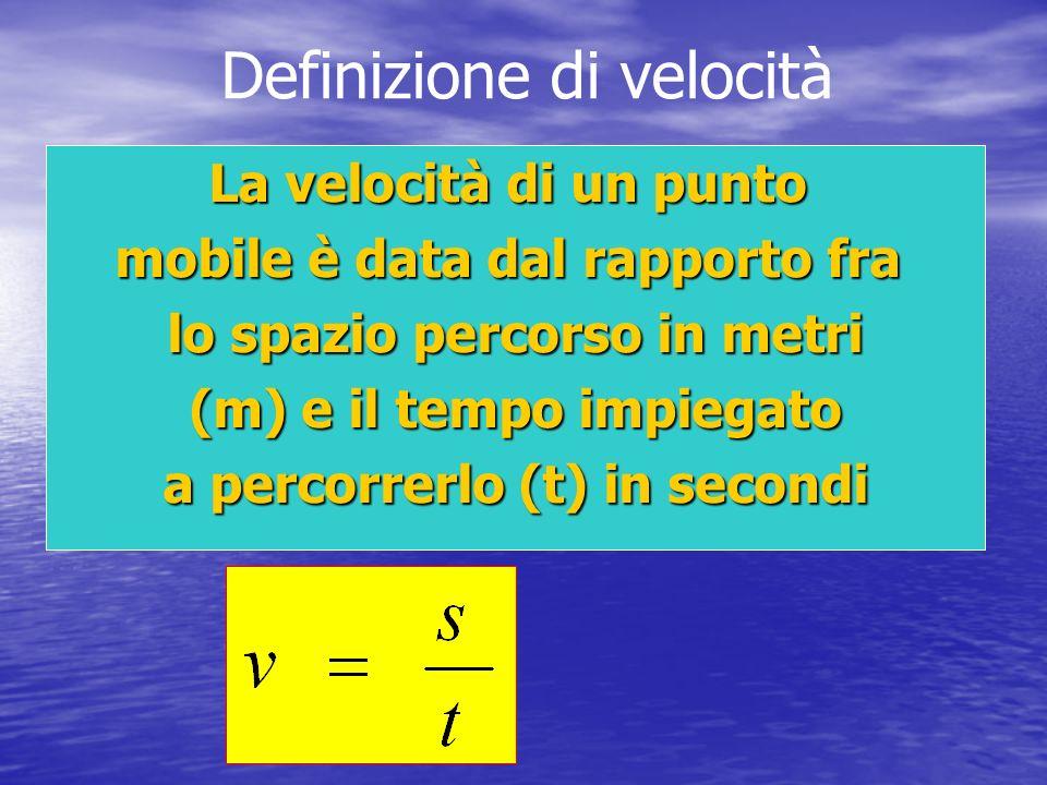 Definizione di velocità La velocità di un punto mobile è data dal rapporto fra lo spazio percorso in metri (m) e il tempo impiegato a percorrerlo (t)