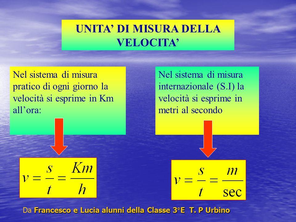 Nel sistema di misura internazionale (S.I) la velocità si esprime in metri al secondo UNITA DI MISURA DELLA VELOCITA Nel sistema di misura pratico di