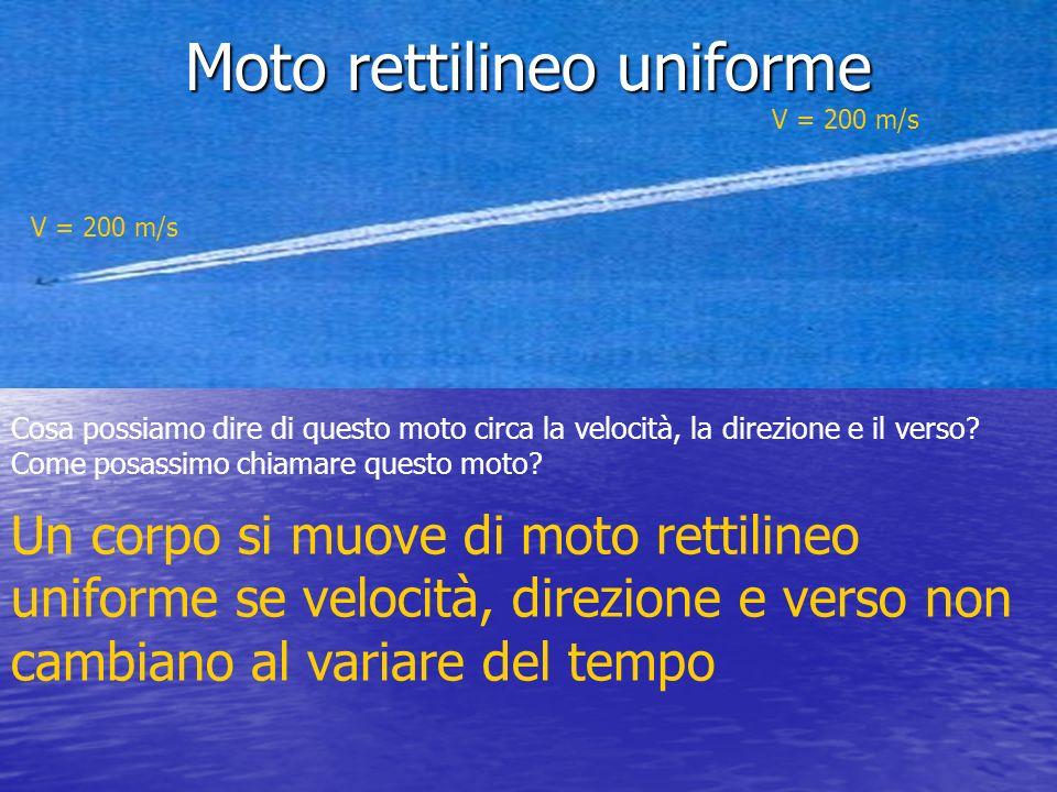 Moto rettilineo uniforme V = 200 m/s V = 200 m/s Cosa possiamo dire di questo moto circa la velocità, la direzione e il verso? Come posassimo chiamare
