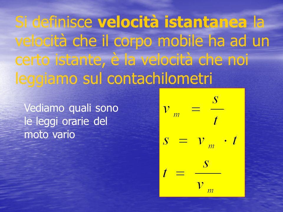 Si definisce velocità istantanea la velocità che il corpo mobile ha ad un certo istante, è la velocità che noi leggiamo sul contachilometri Vediamo qu