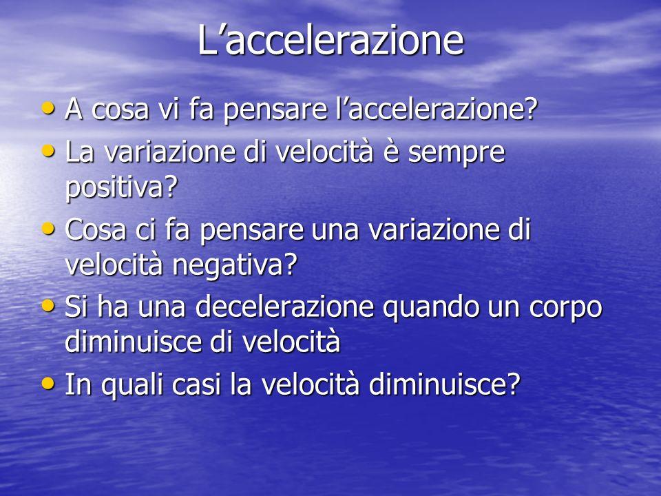 Laccelerazione A cosa vi fa pensare laccelerazione? A cosa vi fa pensare laccelerazione? La variazione di velocità è sempre positiva? La variazione di