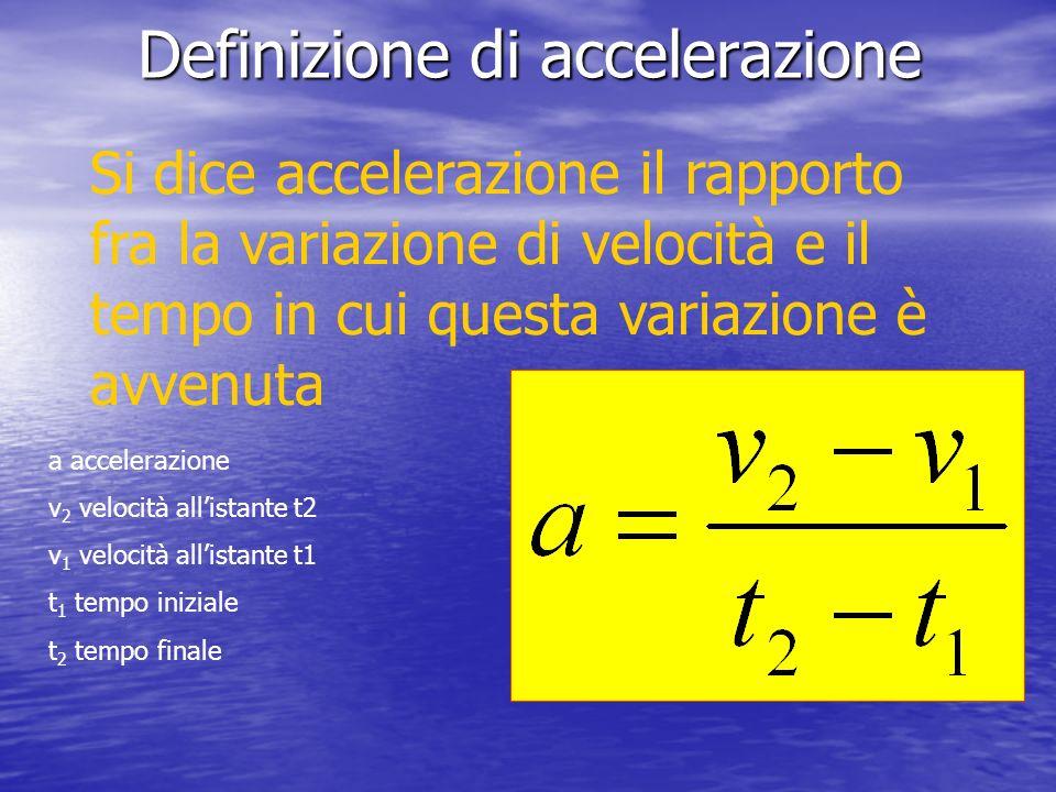 Definizione di accelerazione Si dice accelerazione il rapporto fra la variazione di velocità e il tempo in cui questa variazione è avvenuta a accelera