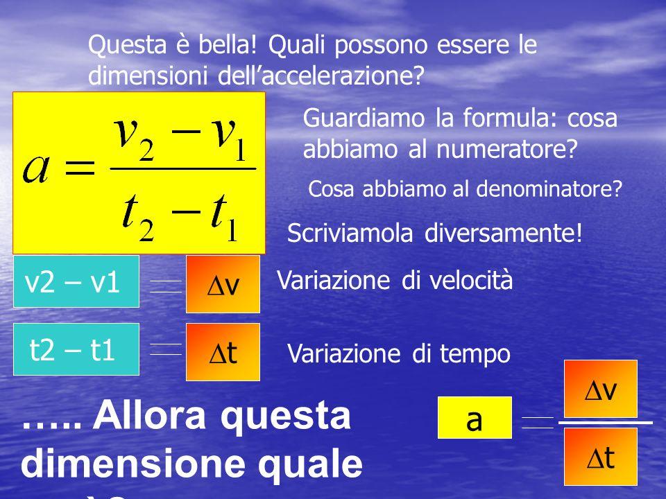 Questa è bella! Quali possono essere le dimensioni dellaccelerazione? Guardiamo la formula: cosa abbiamo al numeratore? Cosa abbiamo al denominatore?