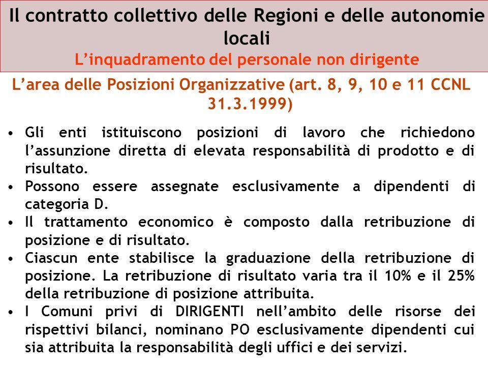 Il contratto collettivo delle Regioni e delle autonomie locali Linquadramento del personale non dirigente Larea delle Posizioni Organizzative (art. 8,