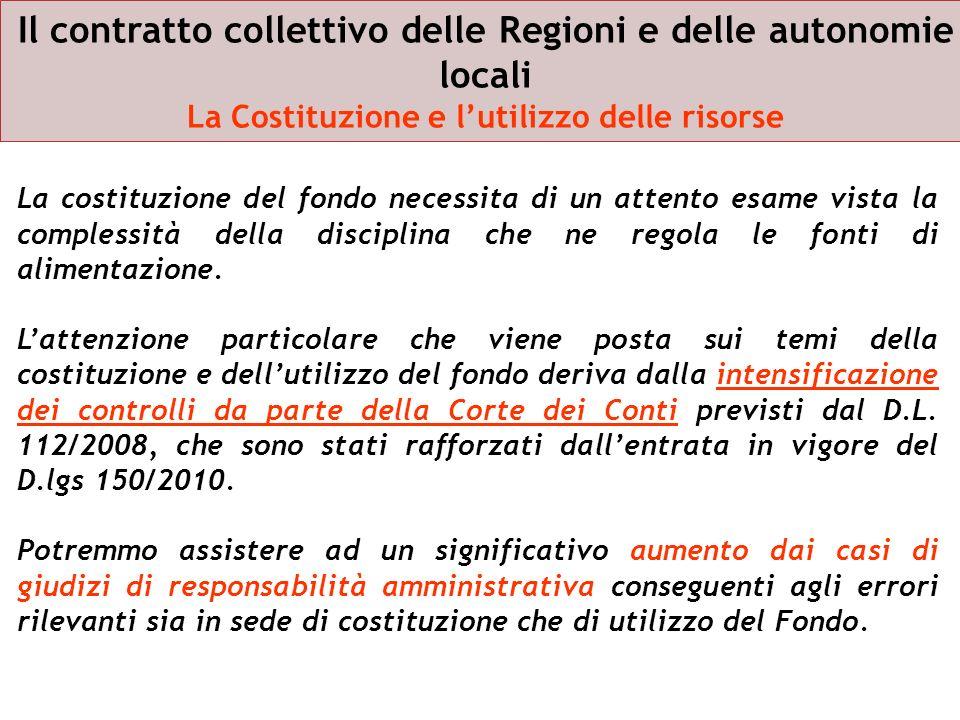 Il contratto collettivo delle Regioni e delle autonomie locali La Costituzione e lutilizzo delle risorse La costituzione del fondo necessita di un att