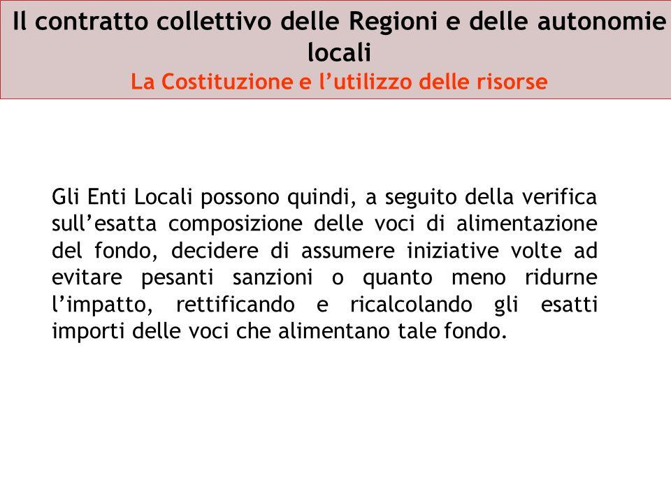 Il contratto collettivo delle Regioni e delle autonomie locali La Costituzione e lutilizzo delle risorse Gli Enti Locali possono quindi, a seguito del