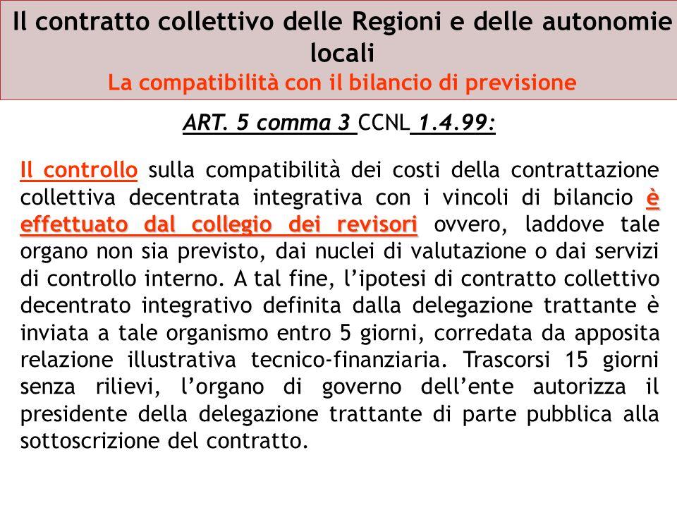 Il contratto collettivo delle Regioni e delle autonomie locali La compatibilità con il bilancio di previsione ART. 5 comma 3 CCNL 1.4.99: è effettuato