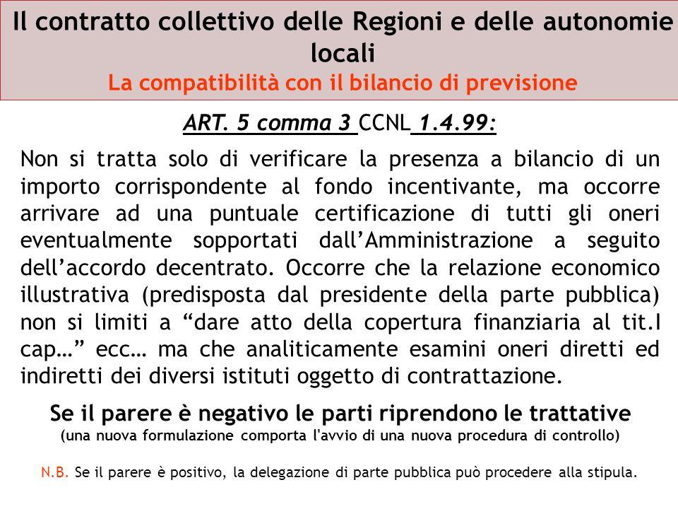 Il contratto collettivo delle Regioni e delle autonomie locali La compatibilità con il bilancio di previsione ART. 5 comma 3 CCNL 1.4.99: Non si tratt