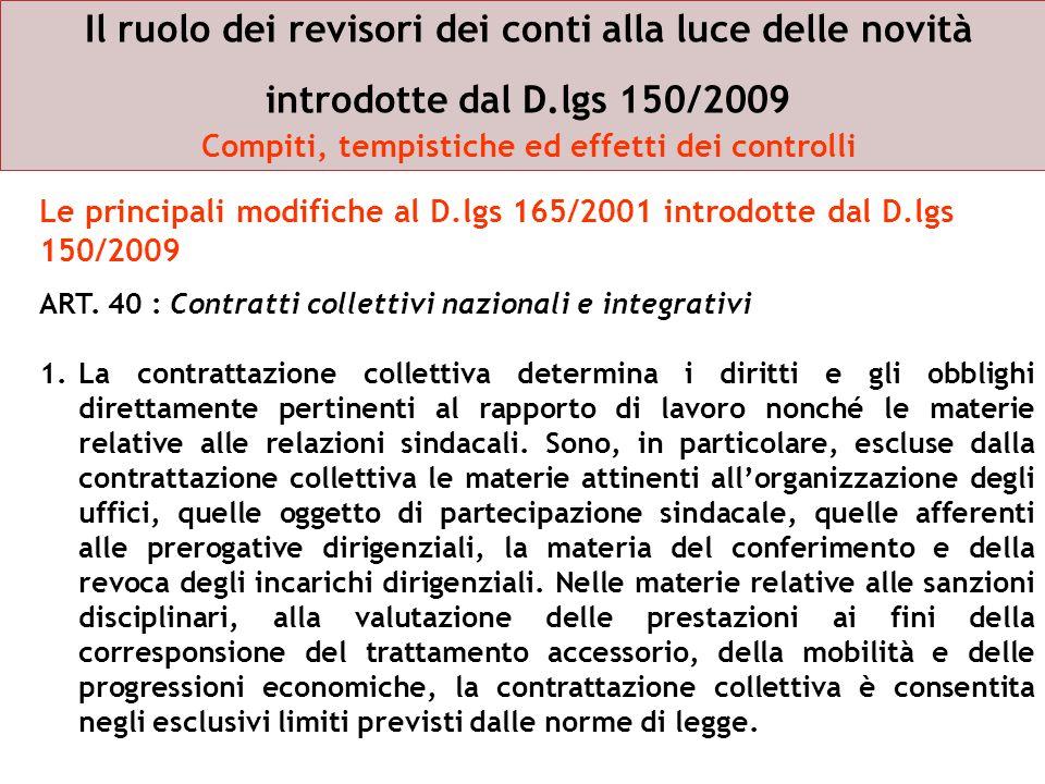Il ruolo dei revisori dei conti alla luce delle novità introdotte dal D.lgs 150/2009 Compiti, tempistiche ed effetti dei controlli ART. 40 : Contratti