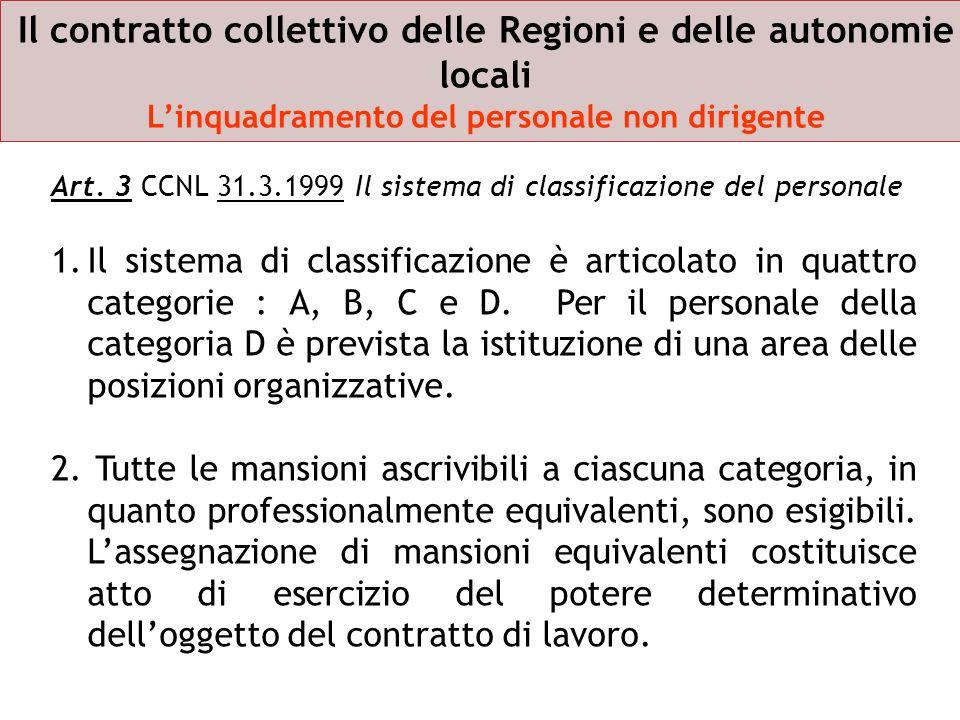 Art. 3 CCNL 31.3.1999 Il sistema di classificazione del personale 1.Il sistema di classificazione è articolato in quattro categorie : A, B, C e D. Per