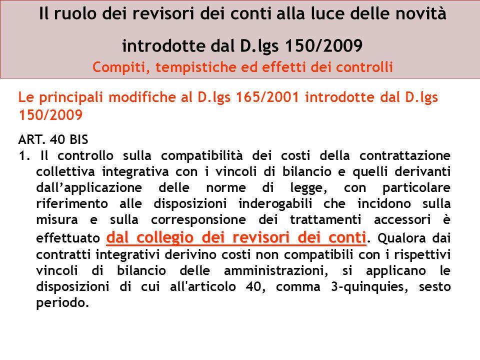 Il ruolo dei revisori dei conti alla luce delle novità introdotte dal D.lgs 150/2009 Compiti, tempistiche ed effetti dei controlli ART. 40 BIS dal col