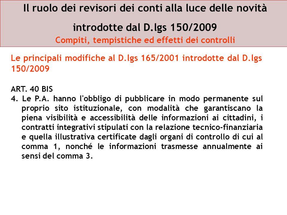 Il ruolo dei revisori dei conti alla luce delle novità introdotte dal D.lgs 150/2009 Compiti, tempistiche ed effetti dei controlli ART. 40 BIS 4. Le P