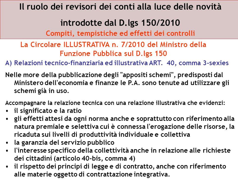 Il ruolo dei revisori dei conti alla luce delle novità introdotte dal D.lgs 150/2010 Compiti, tempistiche ed effetti dei controlli A)Relazioni tecnico