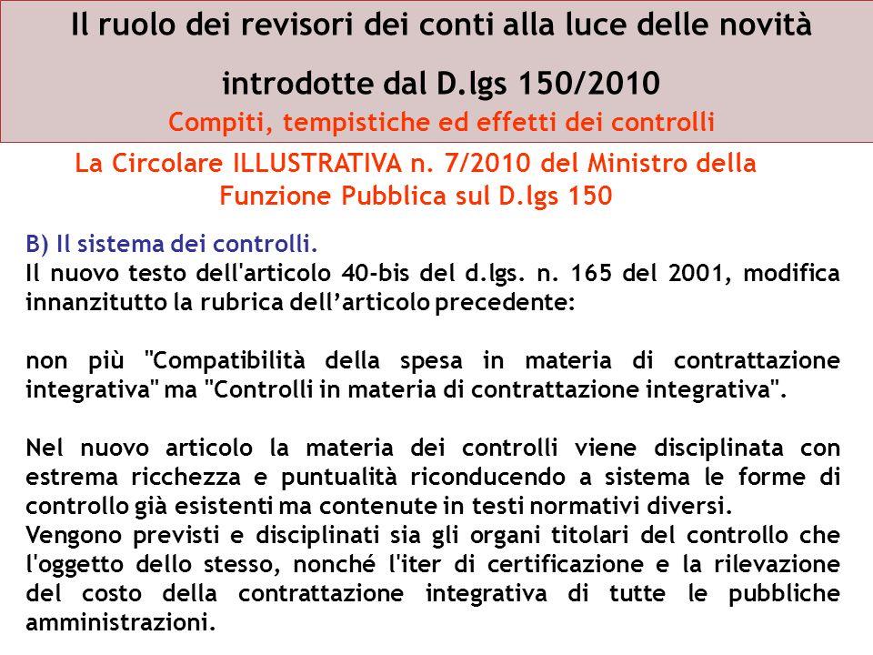 B) Il sistema dei controlli. Il nuovo testo dell'articolo 40-bis del d.lgs. n. 165 del 2001, modifica innanzitutto la rubrica dellarticolo precedente: