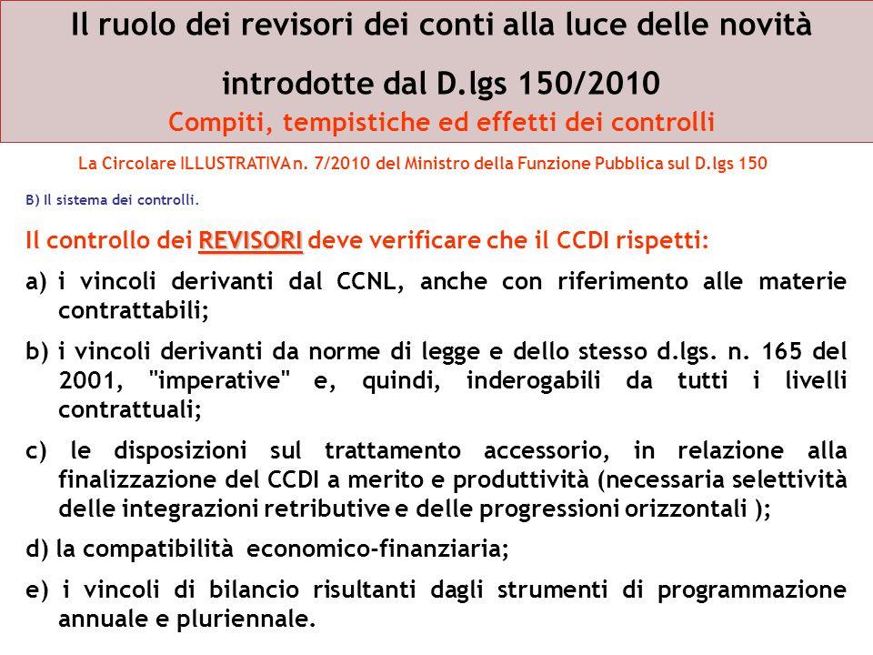 Il ruolo dei revisori dei conti alla luce delle novità introdotte dal D.lgs 150/2010 Compiti, tempistiche ed effetti dei controlli B) Il sistema dei c