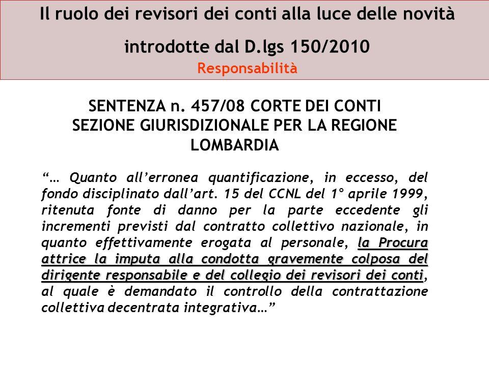 Il ruolo dei revisori dei conti alla luce delle novità introdotte dal D.lgs 150/2010 Responsabilità SENTENZA n. 457/08 CORTE DEI CONTI SEZIONE GIURISD