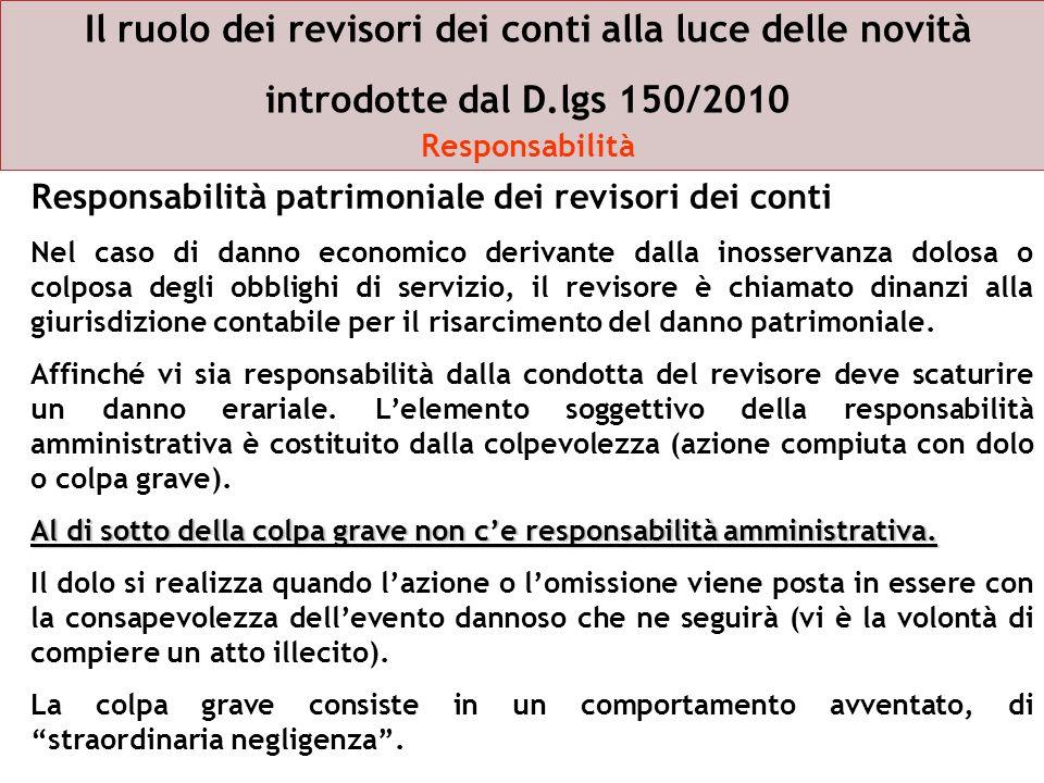 Il ruolo dei revisori dei conti alla luce delle novità introdotte dal D.lgs 150/2010 Responsabilità Responsabilità patrimoniale dei revisori dei conti
