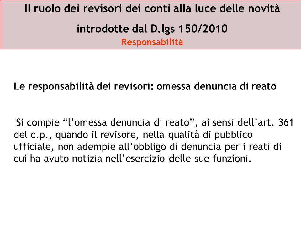 Il ruolo dei revisori dei conti alla luce delle novità introdotte dal D.lgs 150/2010 Responsabilità Le responsabilità dei revisori: omessa denuncia di
