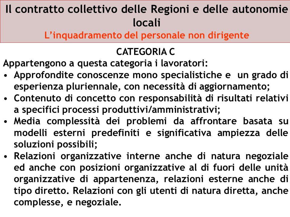 Il contratto collettivo delle Regioni e delle autonomie locali Linquadramento del personale non dirigente CATEGORIA C Appartengono a questa categoria