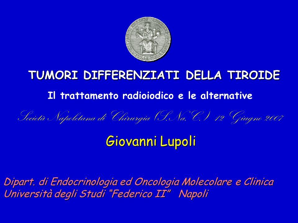 Carcinoma differenziato Terapia medica Se necessario, Calcio (dose: 1 – 3 gr/die) e Vitamina D (dose: 0,25 - 1 g/die) Terapia cronica Completa soppressione dei livelli sierici di TSH (<0.1 mUI/l) e Tg (<0.5 ng/l) L-tiroxina (Eutirox®, Tirosint®) (dose: 1,8-2,5 g/kg/die)