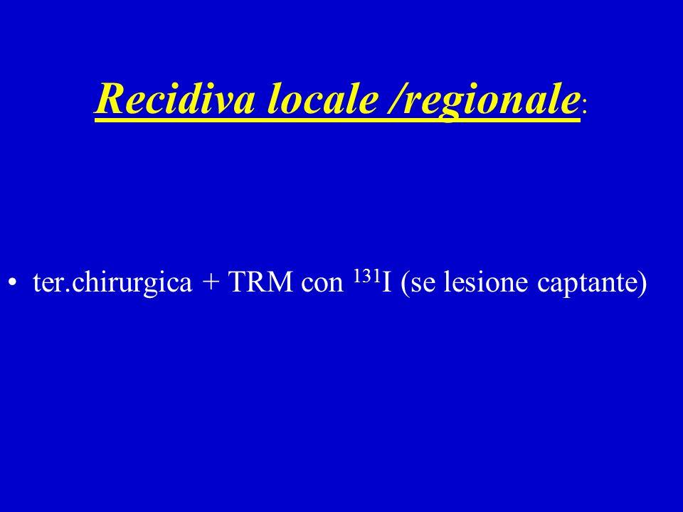 Recidiva locale /regionale : ter.chirurgica + TRM con 131 I (se lesione captante)