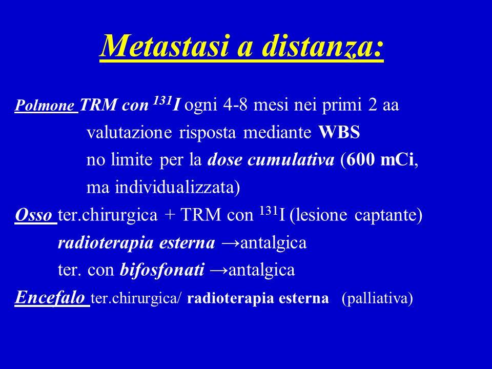 Metastasi a distanza: Polmone TRM con 131 I ogni 4-8 mesi nei primi 2 aa valutazione risposta mediante WBS no limite per la dose cumulativa (600 mCi,
