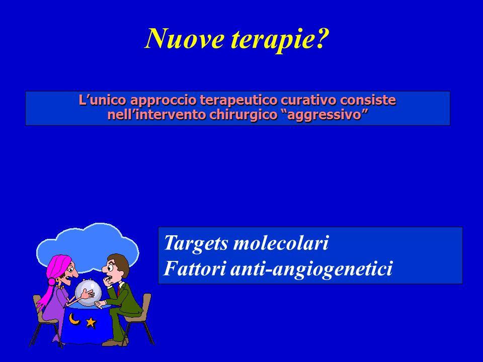 Nuove terapie? Lunico approccio terapeutico curativo consiste nellintervento chirurgico aggressivo Targets molecolari Fattori anti-angiogenetici