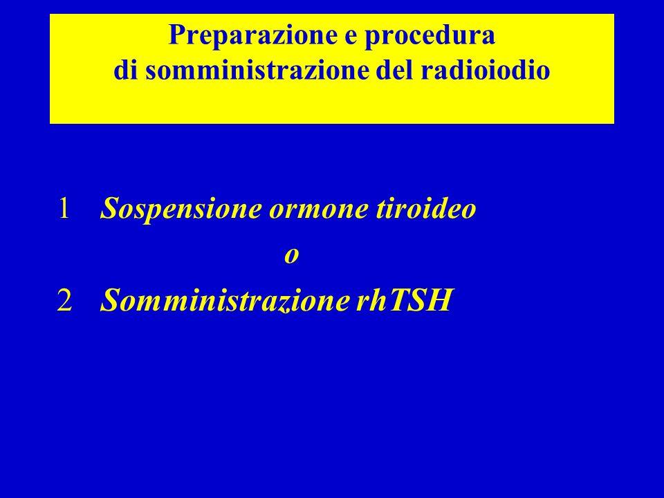 Preparazione e procedura di somministrazione del radioiodio 1Sospensione ormone tiroideo o 2Somministrazione rhTSH
