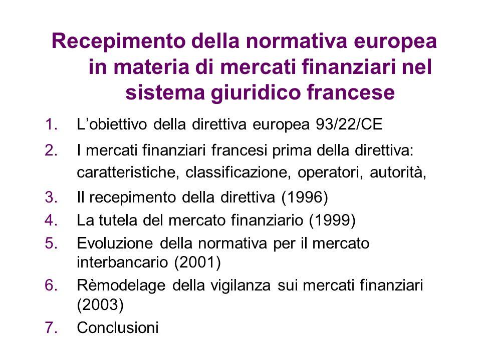 Recepimento della normativa europea in materia di mercati finanziari nel sistema giuridico francese 1.Lobiettivo della direttiva europea 93/22/CE 2.I