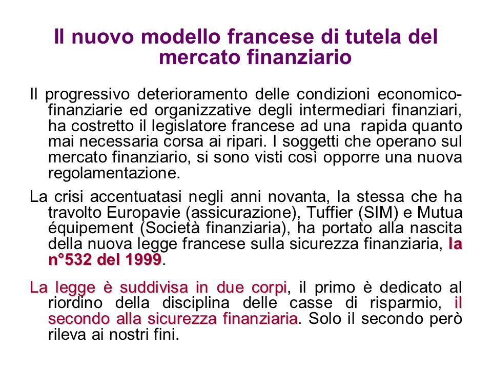 Il nuovo modello francese di tutela del mercato finanziario Il progressivo deterioramento delle condizioni economico- finanziarie ed organizzative deg