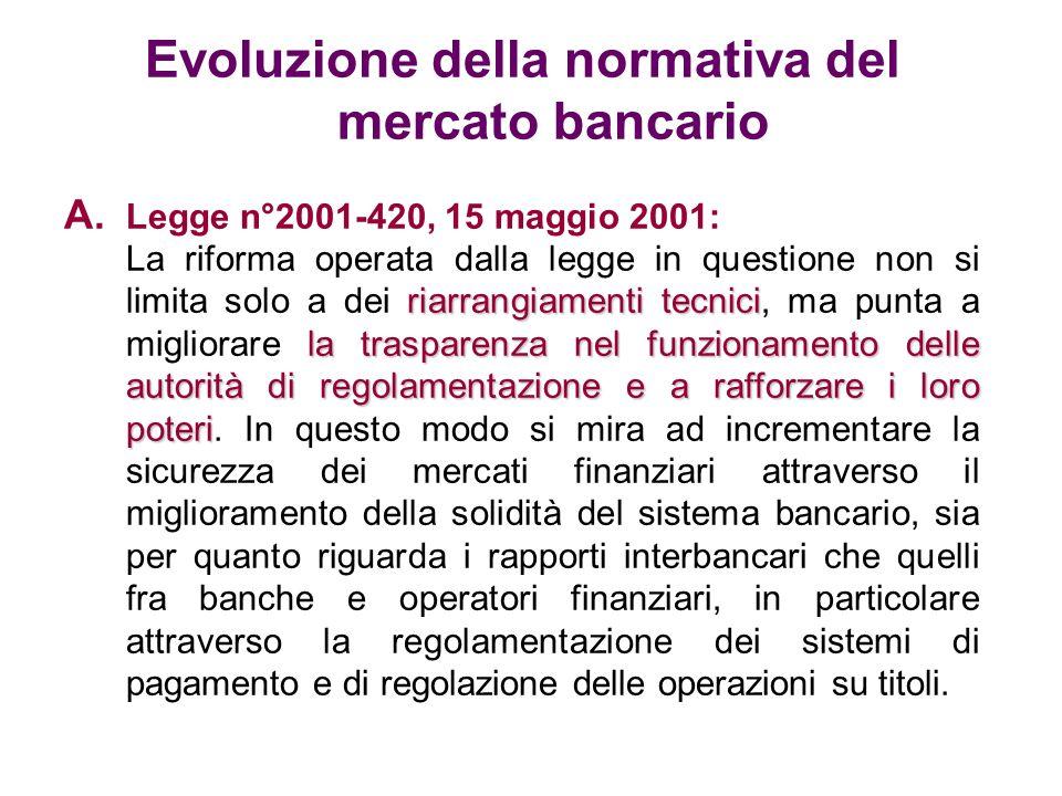Evoluzione della normativa del mercato bancario A. Legge n°2001-420, 15 maggio 2001: riarrangiamenti tecnici la trasparenza nel funzionamento delle au