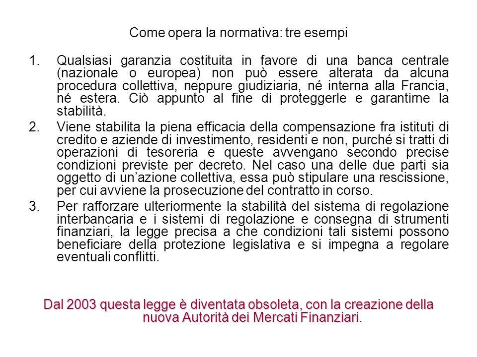 Come opera la normativa: tre esempi 1.Qualsiasi garanzia costituita in favore di una banca centrale (nazionale o europea) non può essere alterata da a