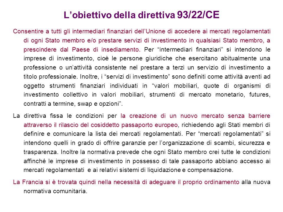 Lobiettivo della direttiva 93/22/CE Consentire a tutti gli intermediari finanziari dellUnione di accedere ai mercati regolamentati di ogni Stato membr