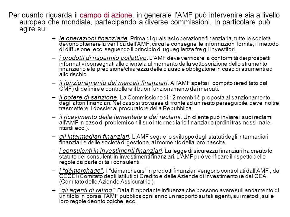 campo di azione Per quanto riguarda il campo di azione, in generale lAMF può intervenire sia a livello europeo che mondiale, partecipando a diverse co