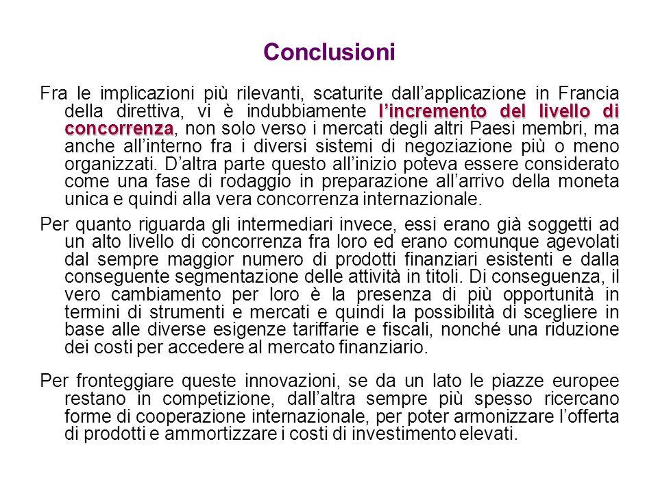 Conclusioni lincremento del livello di concorrenza Fra le implicazioni più rilevanti, scaturite dallapplicazione in Francia della direttiva, vi è indu