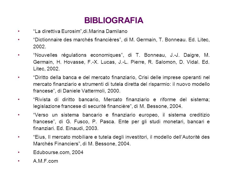 BIBLIOGRAFIA La direttiva Eurosim,di.Marina Damilano Dictionnaire des marchés financières, di M. Germain, T. Bonneau. Ed. Litec, 2002. Nouvelles régul
