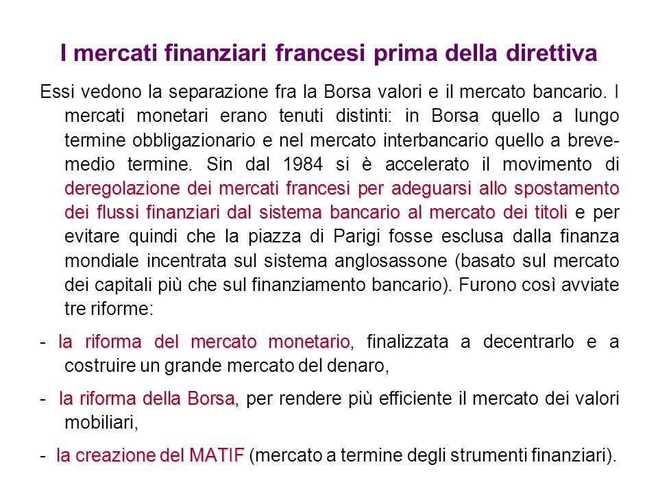 I mercati finanziari francesi prima della direttiva deregolazione dei mercati francesi per adeguarsi allo spostamento dei flussi finanziari dal sistem