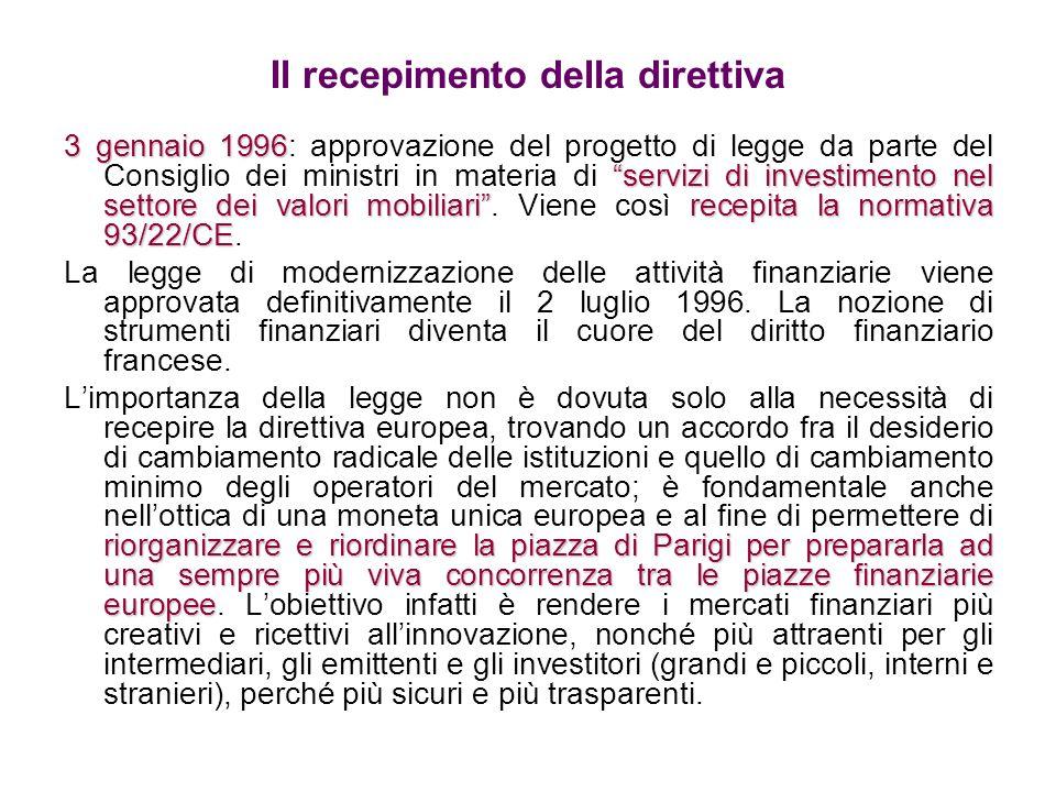 Rafforzamento della vigilanza sui mercati finanziari Il 1° agosto 2003 la legge n°2003-706 ha disposto che COB, CMF e CDGF (Consiglio di Disciplina della Gestione Finanziaria) si fondessero dando vita allAMF (Autorità dei Mercati Finanziari), facilitando così la regolamentazione e il controllo dei mercati finanziari.