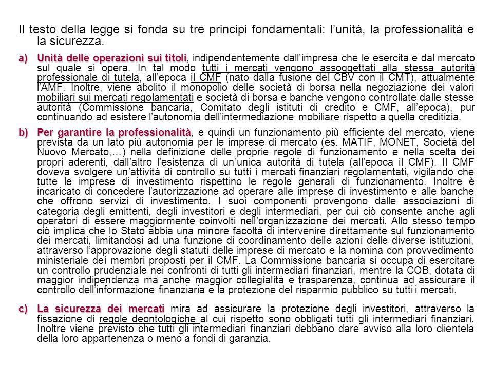 Il testo della legge si fonda su tre principi fondamentali: lunità, la professionalità e la sicurezza. a)Unità delle operazioni sui titoli a)Unità del