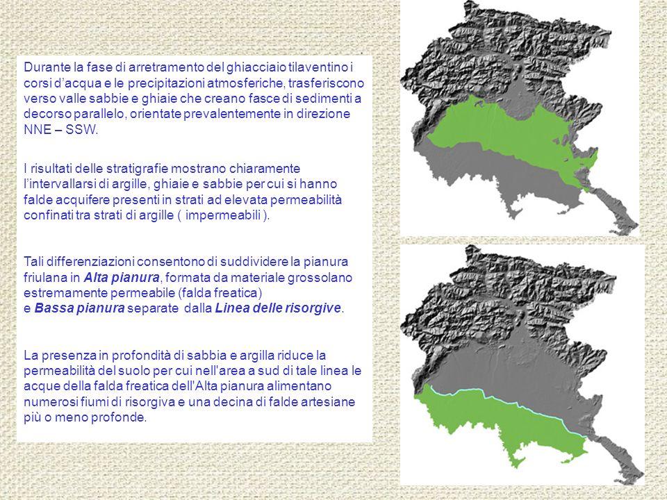 Durante la fase di arretramento del ghiacciaio tilaventino i corsi dacqua e le precipitazioni atmosferiche, trasferiscono verso valle sabbie e ghiaie