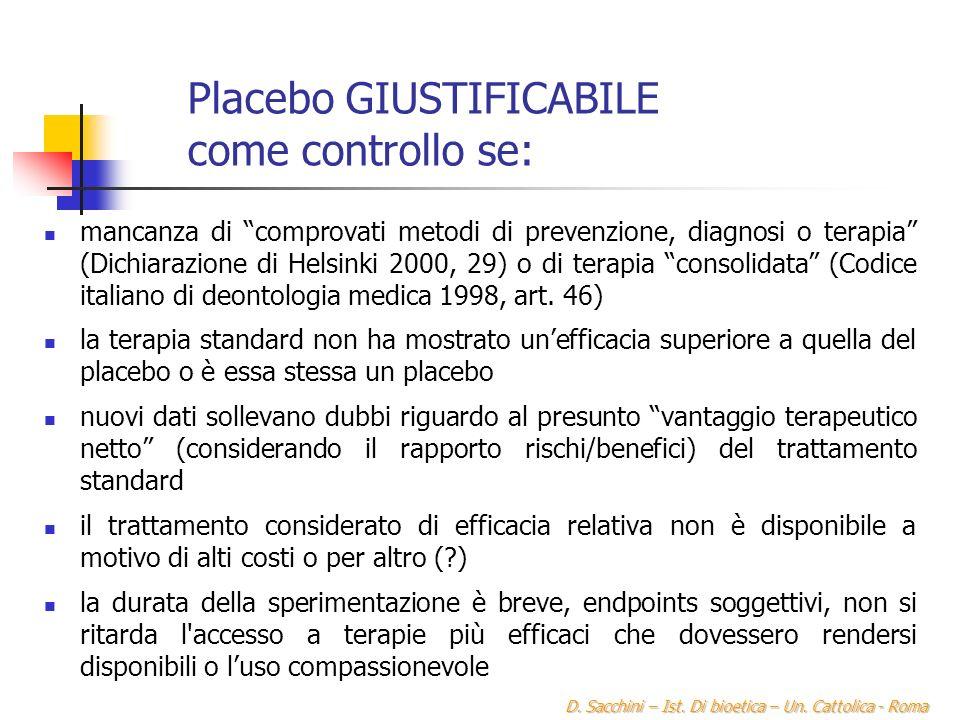 Placebo GIUSTIFICABILE come controllo se: mancanza di comprovati metodi di prevenzione, diagnosi o terapia (Dichiarazione di Helsinki 2000, 29) o di terapia consolidata (Codice italiano di deontologia medica 1998, art.