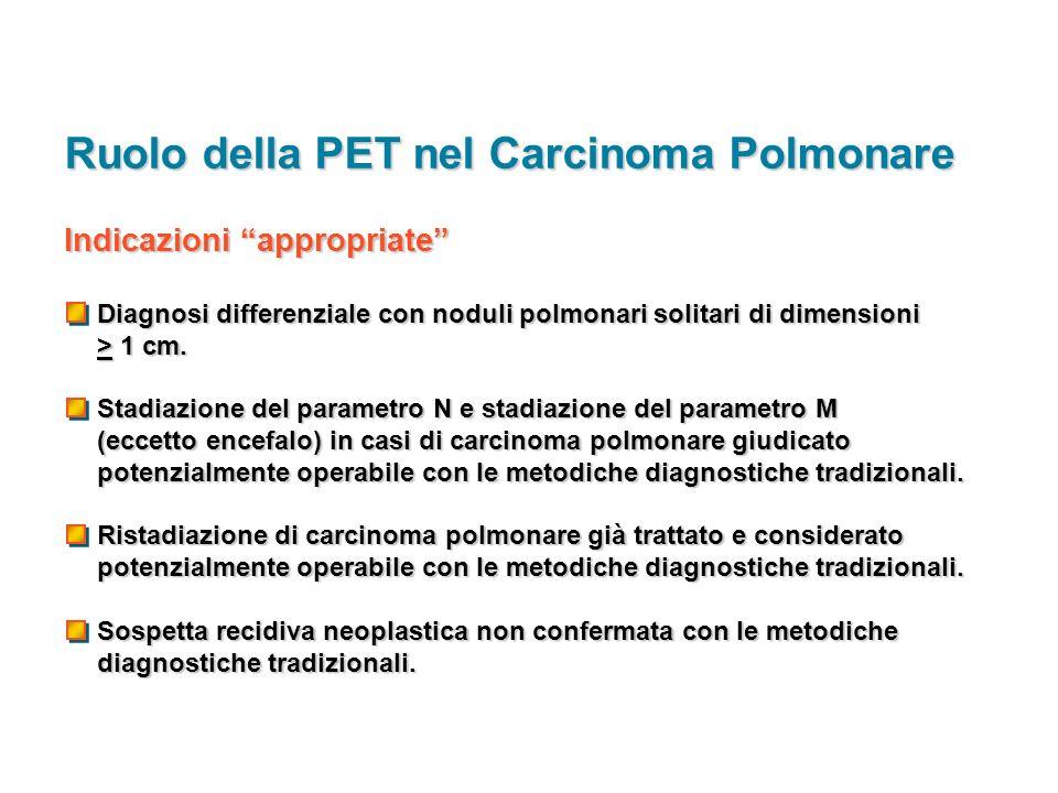 Indicazioni appropriate Diagnosi differenziale con noduli polmonari solitari di dimensioni > 1 cm. Stadiazione del parametro N e stadiazione del param
