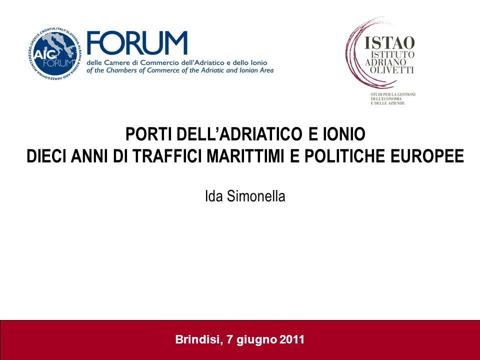 Brindisi, 7 giugno 2011 PORTI DELLADRIATICO E IONIO DIECI ANNI DI TRAFFICI MARITTIMI E POLITICHE EUROPEE Ida Simonella