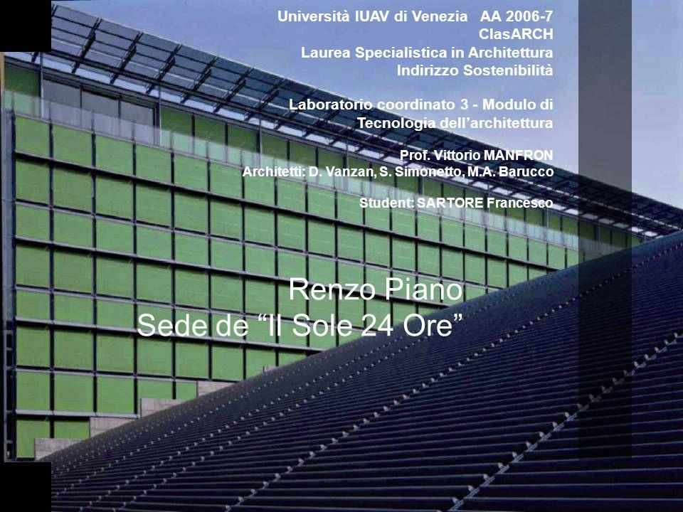 Renzo Piano Sede de Il Sole 24 Ore Università IUAV di Venezia AA 2006-7 ClasARCH Laurea Specialistica in Architettura Indirizzo Sostenibilità Laborato