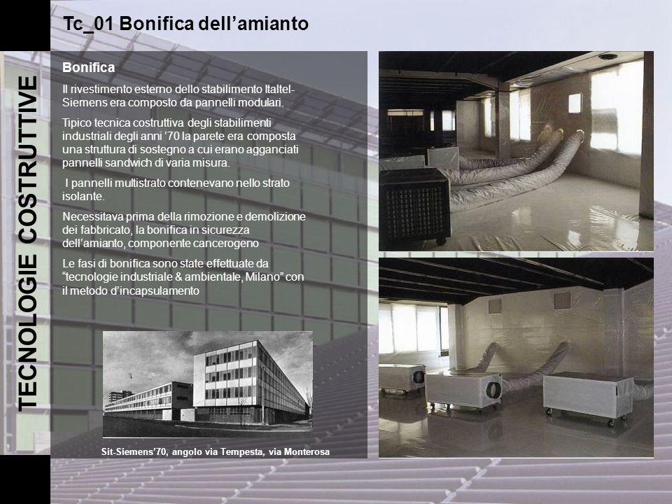 TECNOLOGIE COSTRUTTIVE Tc_01 Bonifica dellamianto Bonifica Il rivestimento esterno dello stabilimento Italtel- Siemens era composto da pannelli modula