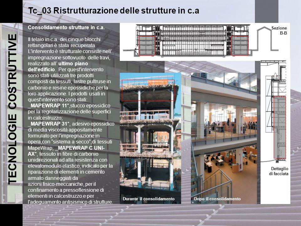 TECNOLOGIE COSTRUTTIVE Tc_03 Ristrutturazione delle strutture in c.a Consolidamento strutture in c.a. Il telaio in c.a. dei cinque blocchi rettangolar