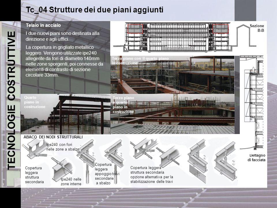 TECNOLOGIE COSTRUTTIVE Tc_04 Strutture dei due piani aggiunti Telaio in acciaio I due nuovi piani sono destinata alla direzione e agli uffici. La cope