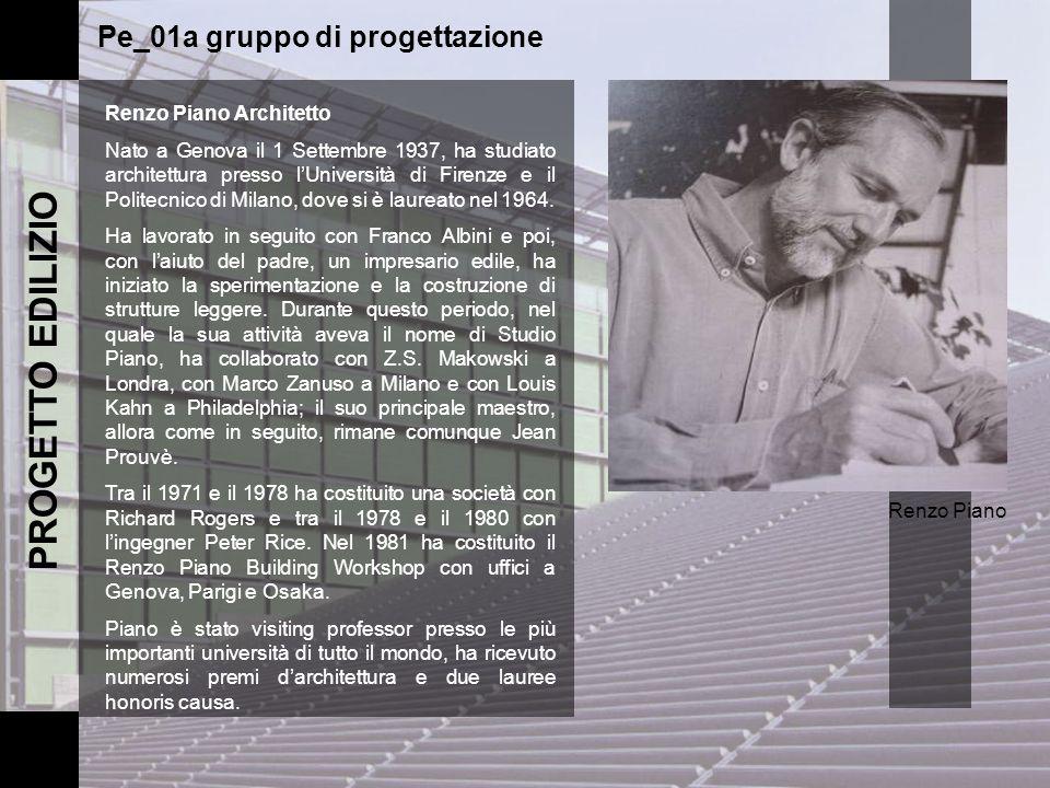 PROGETTO EDILIZIO Renzo Piano Architetto Nato a Genova il 1 Settembre 1937, ha studiato architettura presso lUniversità di Firenze e il Politecnico di